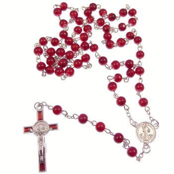 Round red St. Benedict cross rosary beads silver chain 50cm length Catholic gift