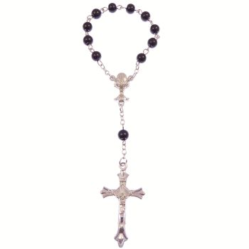 Black round glass one decade pocket rosary beads decenary chalice center