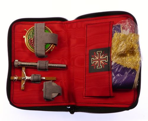 Travel case sick call set crucifix oil stock pyx altar linens stole aspergi
