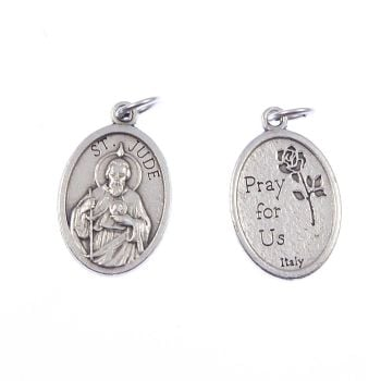 Rosary medal - St. Jude of Thaddeus - silver metal