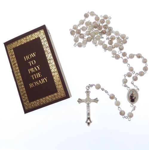 White marble effect glass St. Anthony rosary beads with How to Pray Rosary
