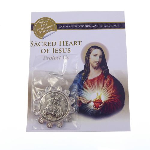 Catholic Sacred Heart of Jesus silver metal car plaque adhesive & magnetic