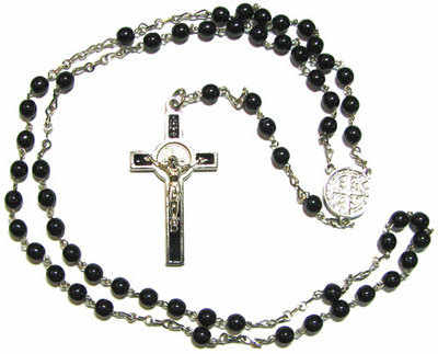 St. Benedict black glass rosary beads with silver tone