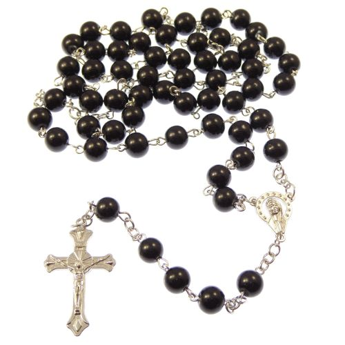 Long black metal long Catholic rosary beads with Our Lady center
