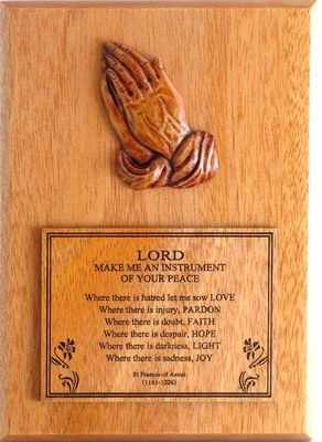 Francis of Assisi praying hands wooden wall plaque gift