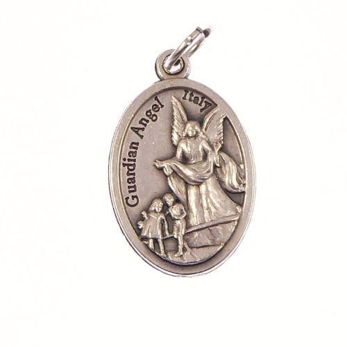 Silver metal Guardian Angel medal pendant