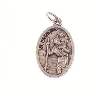 Silver metal Saint christopher medal pendant 2cm