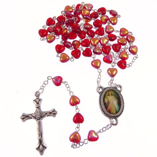 Red glass heart Divine Mercy Jesus rosary beads