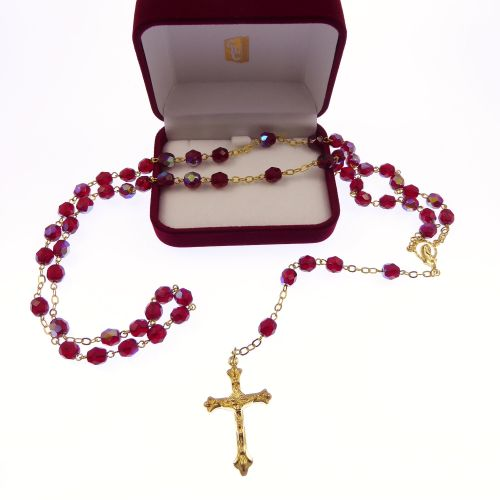Gold chain bright red iridescent glass rosary beads Mary center Catholic in