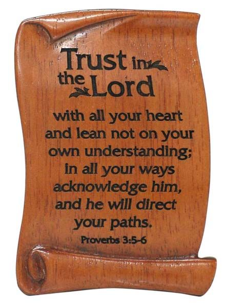 Trust in the Lord scroll plaque wood magnet Christian gift 7cm