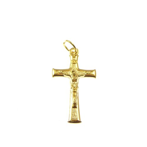 Gold colour metal crucifix cross 3.5cm pendant jewellery with jump ring