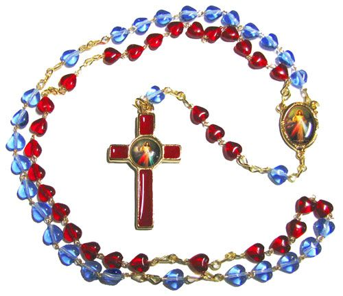 Divine Mercy Jesus red blue glass heart rosary beads Catholic