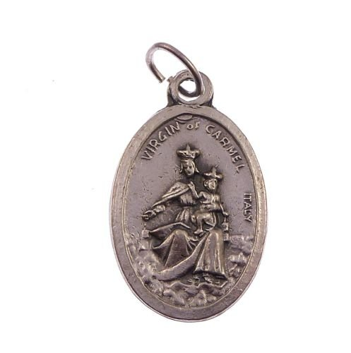 Catholic Our Lady of Mount Carmel metal medal for rosary beads
