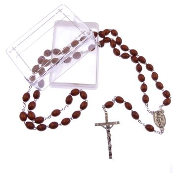 Extra strong brown wood rosary beads in gift box