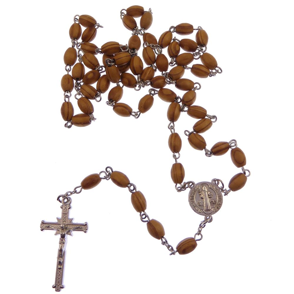 Wood St. Benedict rosary beads in brown and silver plated
