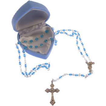Childrens childs small pearl rosary beads + blue heart box