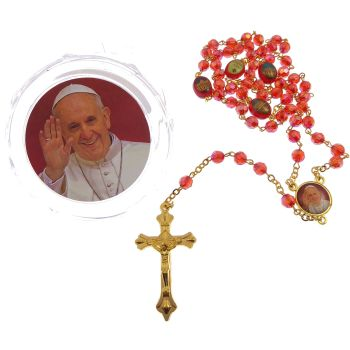Red iridescent faceted resin Pope Francis rosary beads in box gold chain