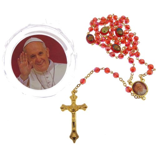 Red iridescent faceted resin Pope Benedict rosary beads in box gold chain