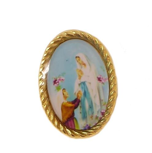 Our Lady of Lourdes pin badge button Catholic gift 2.4cm