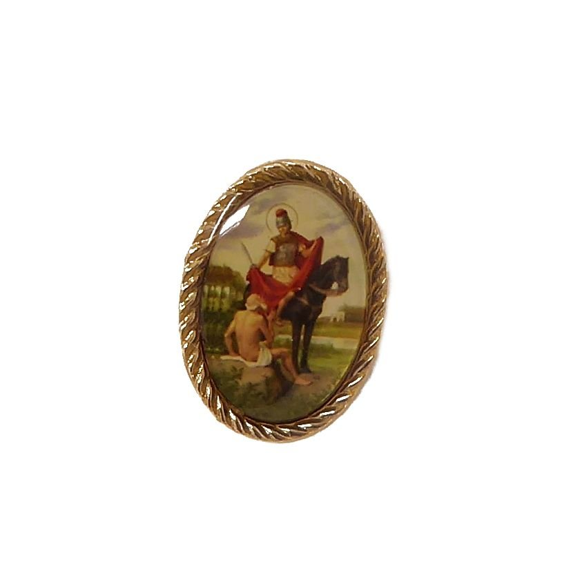 St. Martin of Tours pin badge button Catholic gift 2.4cm
