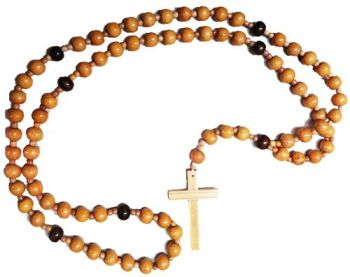 Franciscan Crown Rosary beads 7 decade very large wall hanging 112cm wood beads