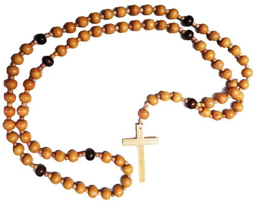 Franciscan Crown Rosary beads 7 decade very large wall hanging 112cm wood b
