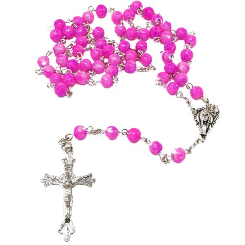 Pink & white marble glass rosary beads on silver chain 50cm