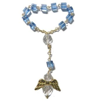 Small pocket one decade blue cube glass rosary beads angel design prayer gift 9cm