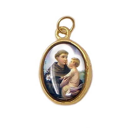 St. Anthony rosary beads medal pendant gold tone Catholic 2.5cm