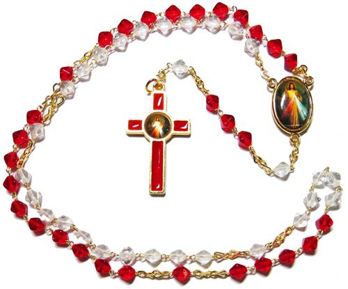 Red and clear bicone glass Divine Mercy rosary beads 45cm