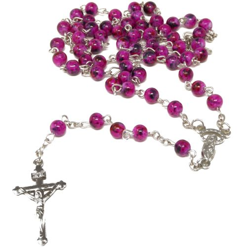 Dark purple marble style 6mm beads Rosary beads necklace