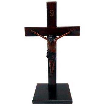 Christian large wood wooden Corpus standing Cross 25cm square base crucifix