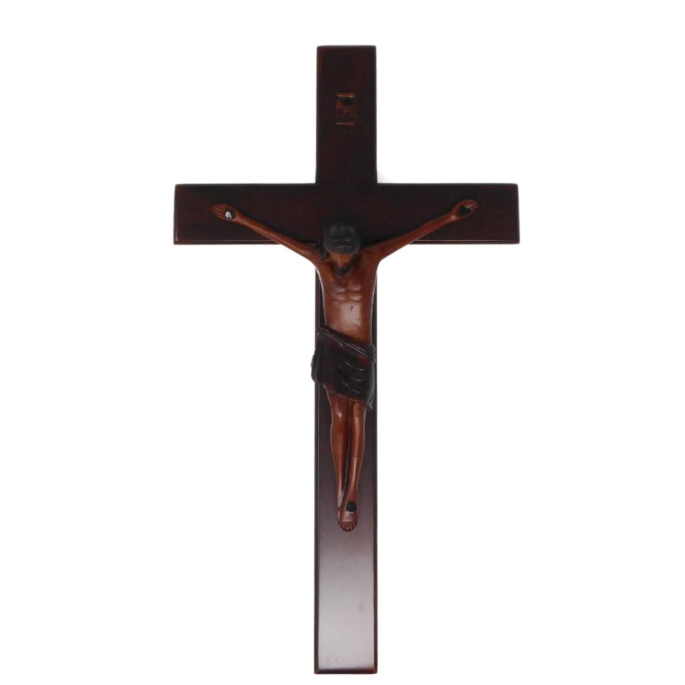 Christian brown wooden Corpus hanging Cross 25cm
