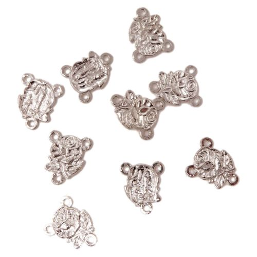 10 x Catholic junction for rosary beads rose center silver metal 2cm