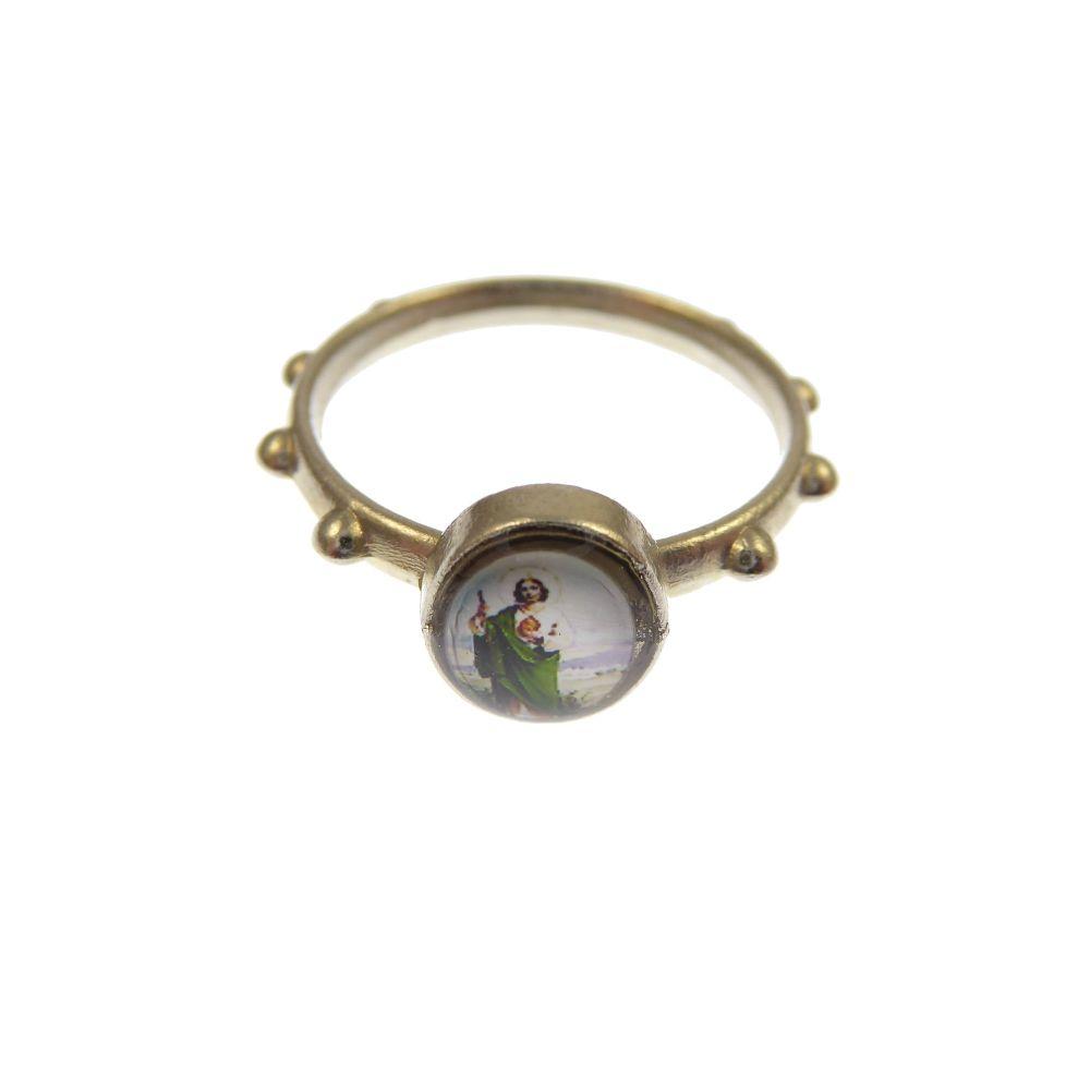 Silver metal small St. Jude rosary ring Catholic pocket prayer beads 2.5cm