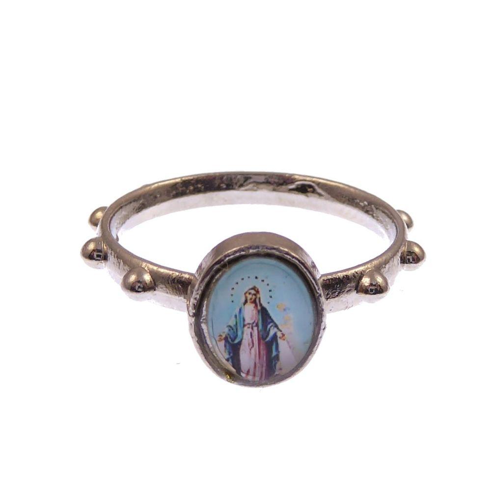 Silver metal small Miraculous Mary rosary ring Catholic pocket prayer beads