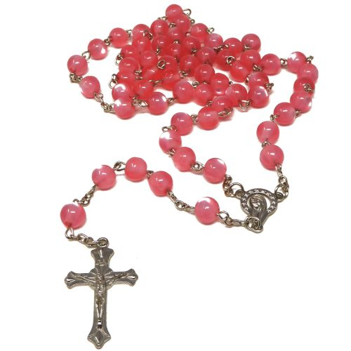 Pink resin round pearly rosary beads 54cm length silver chain crucifix