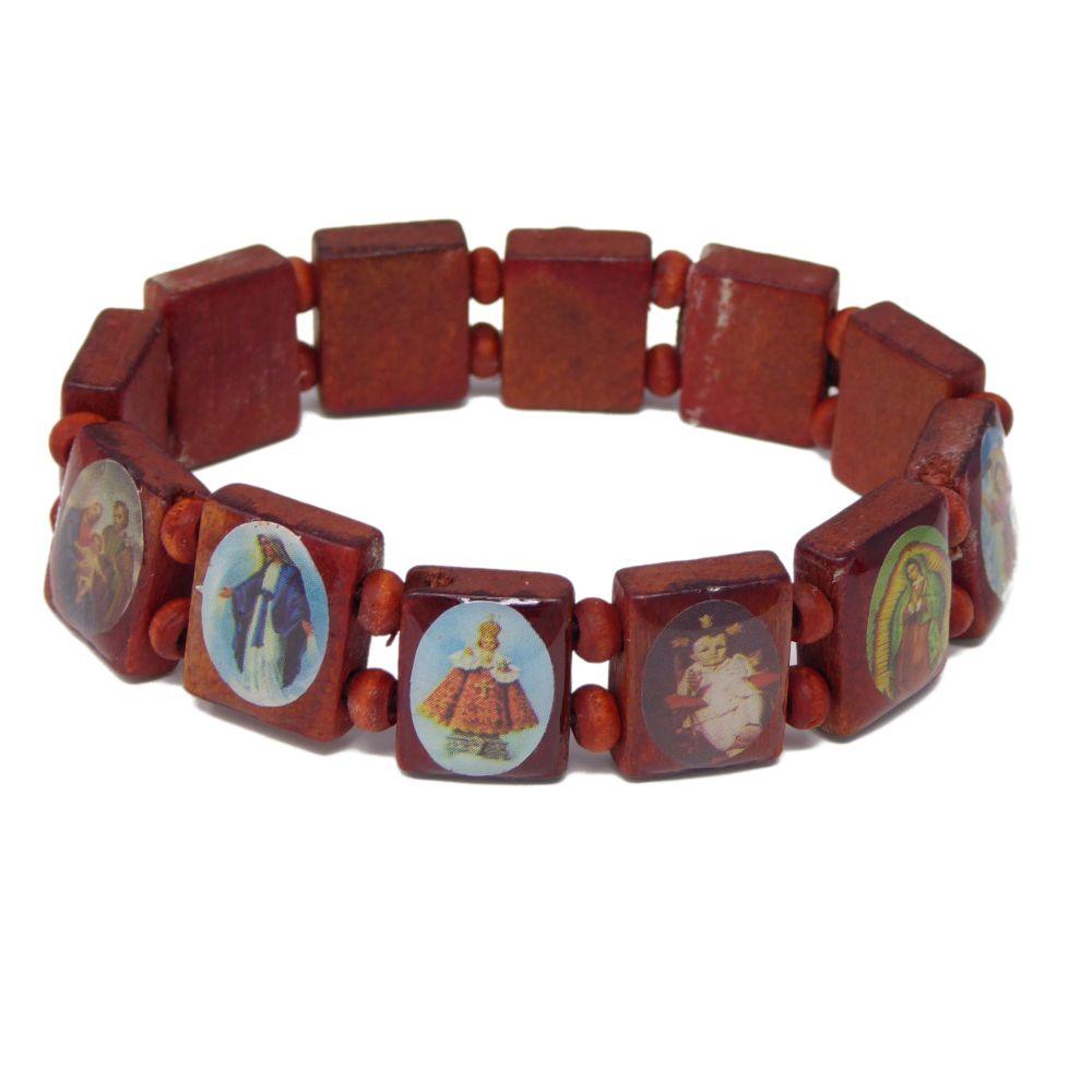 Religious images brown wood Jesus saints stretch bracelet