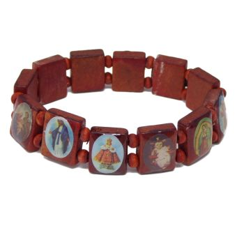 Religious images brown wood Jesus saints stretch bracelet