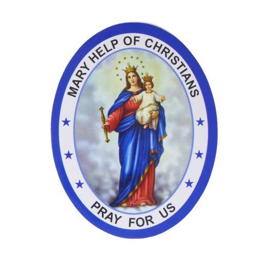Mary help of Christians double sided window sticker 9.2cm Catholic auto car