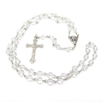 Clear glass Catholic rosary beads Our Lady center 6mm