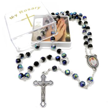 Black iridescent glass Pope Francis capped rosary beads in box