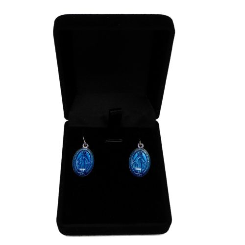 Miraculous Mary medal dangly earrings sterling silver hooks 2cm