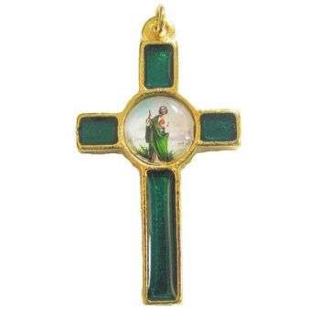 Enamel Saint Jude green and gold crucifix cross