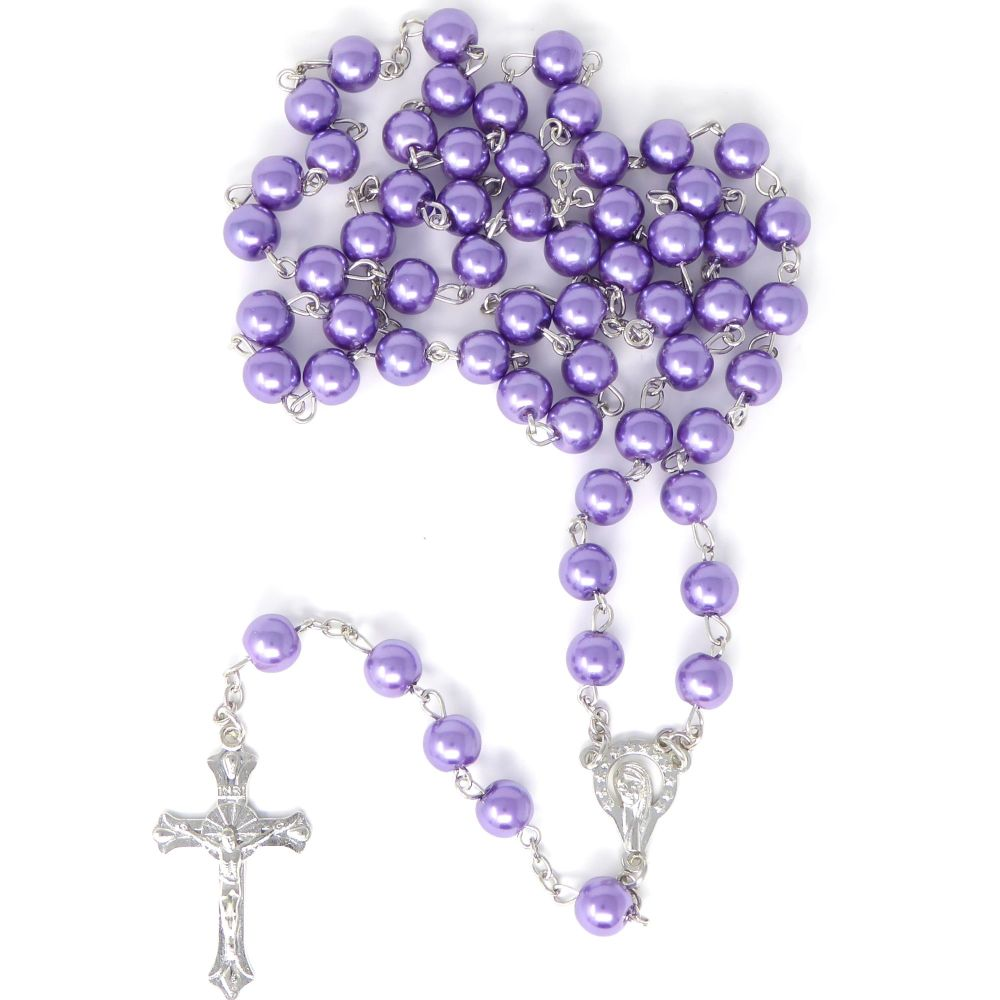 Long purple metal long Catholic rosary beads with Our Lady center