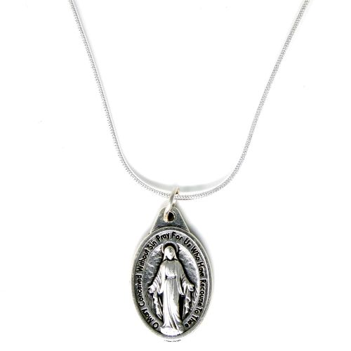 Miraculous image medal pendant silver plated necklace