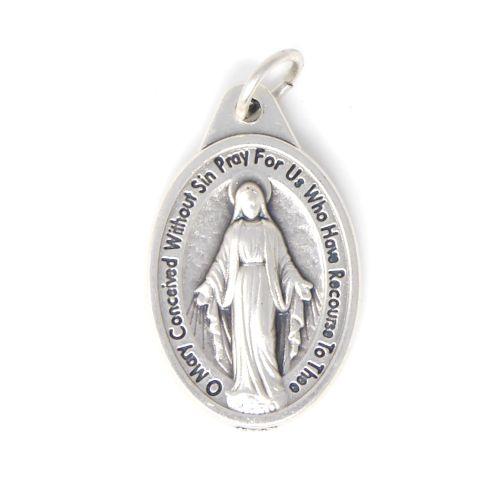 Miraculous metal medal pendant - silver metal