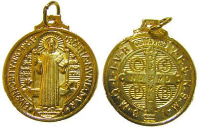 Gold metal Saint Benedict rosary medal