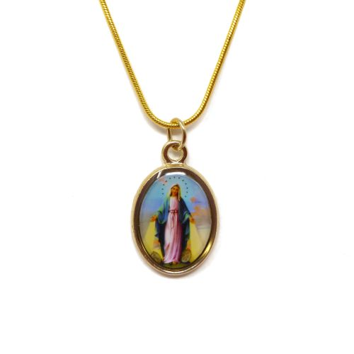 Gold metal Miraculous medal necklace - 17inch