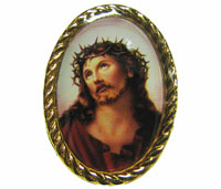 Gold pin with the Sacred face of Jesus image